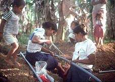 Sawing pipes - Safe drinking water project in Nicaragua - Click for info